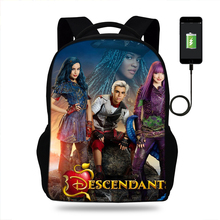 Descendants Women Backpack Schoolbag Girls Student Travel Laptop School Bag USb Charge Female Mochila Bagpack For Teen