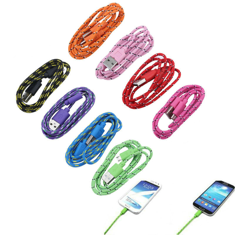 Nylon Braided Fabric Micro USB Cable Data Sync Charging Cord Charger Cable For Samsung font b