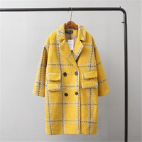 2018 New Woolen Blend Jacket Women Poncho Wool Coat Thick Yellow Plaid Oversize Cashmere Overcoat