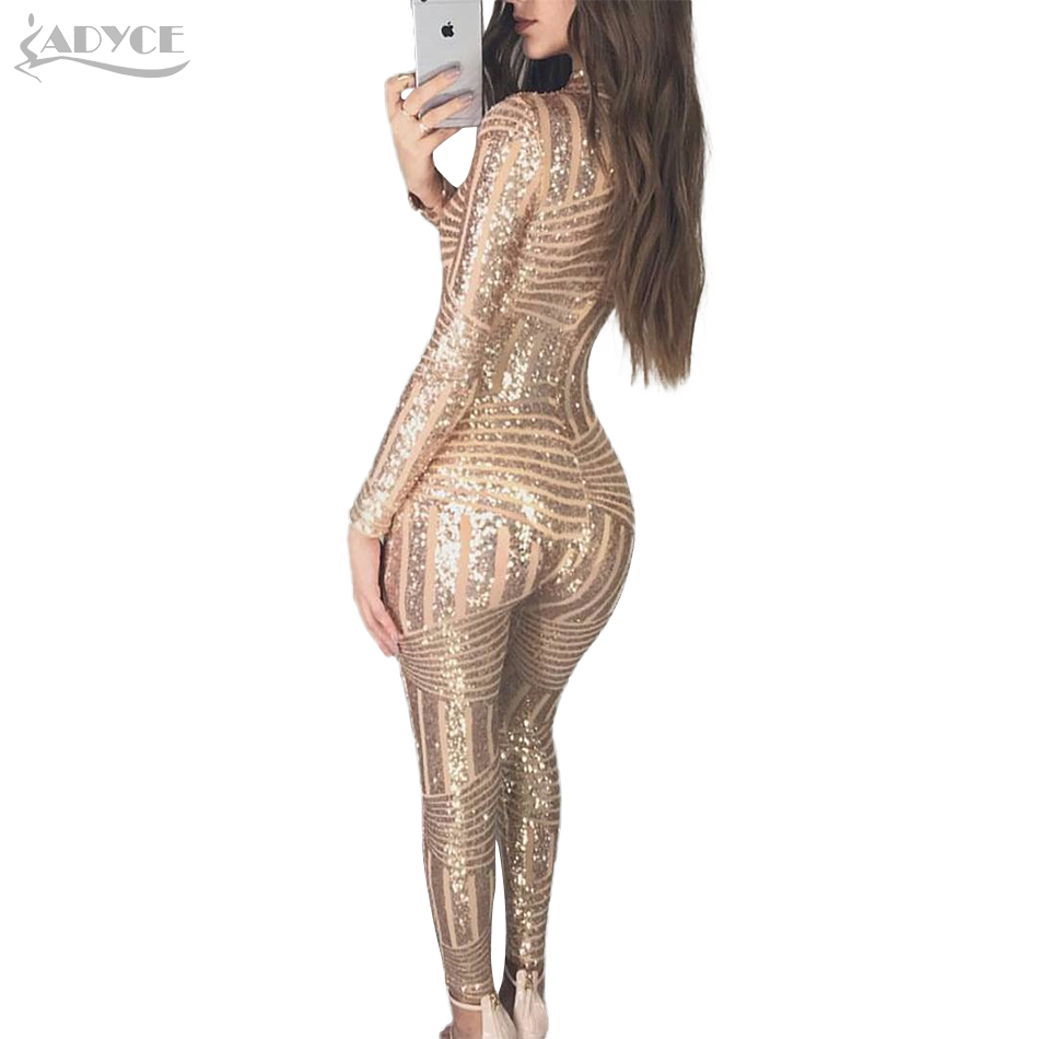 Adyce 2018 Chic Women Long Jumpsuits Sexy O Neck Sequins Long Sleeve Full Length Rompers Summer Long Jumpsuit Bodysuits