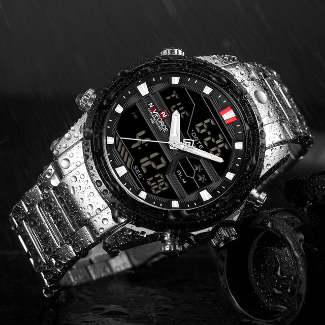 NAVIFORCE Men's Top Brand Dual Display Chronograph Waterproof Luxury Casual Quartz Watches 3