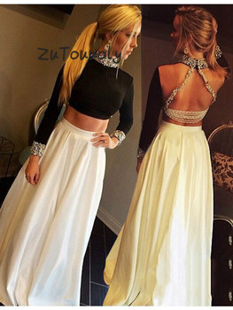 Turkey Black And White Evening Dress With Long Sleeves Crystal High Neckline Two Pieces Prom Dresses Sexy Backless Evening Gowns
