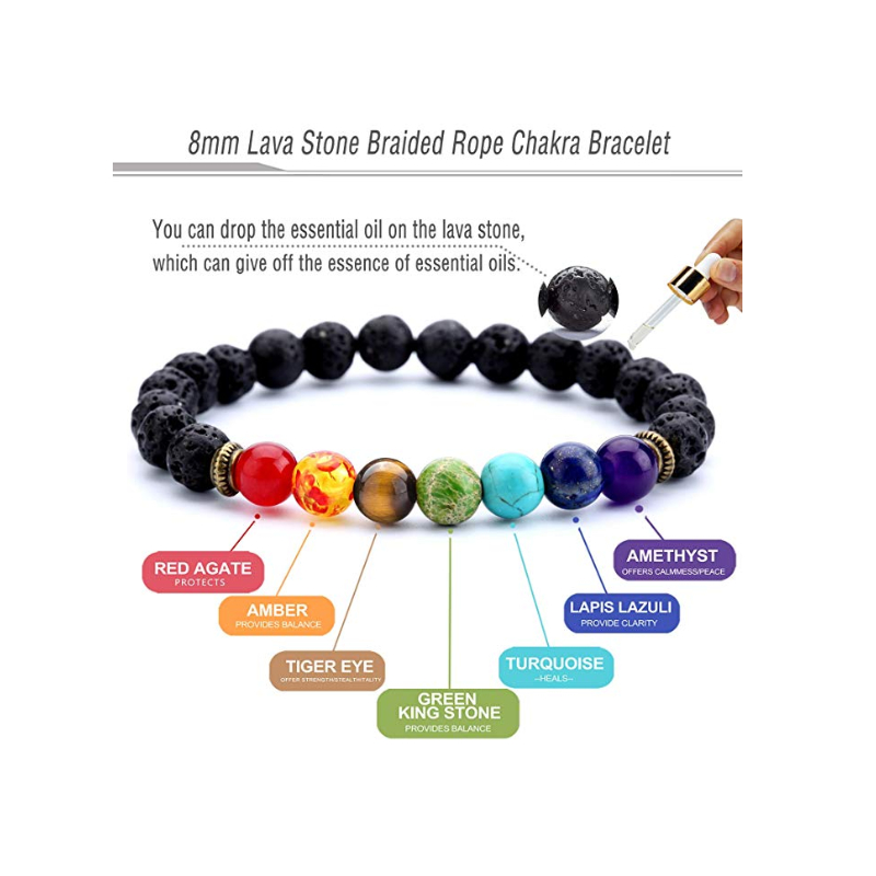 Men Women 8mm Lava Rock 7 Chakras Aromatherapy Essential Oil Diffuser Bracelet Braided Rope Natural Stone Yoga Beads Bangle 21g
