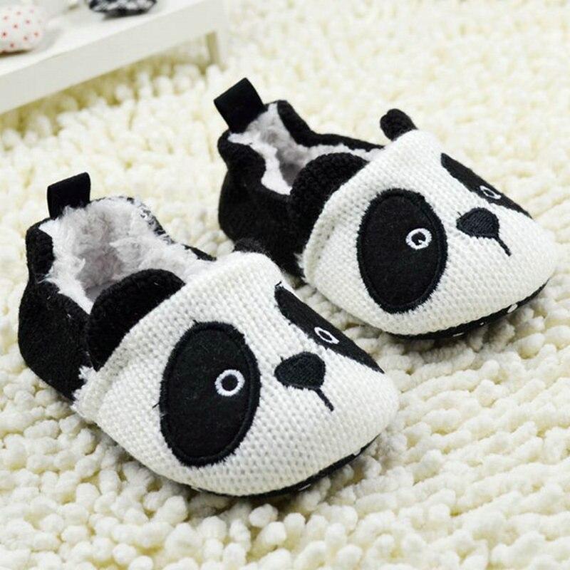 Toddler Boy Girls Warm Bootee Crochet Knit Shoes Newborn Fleece Panda Crib Shoes