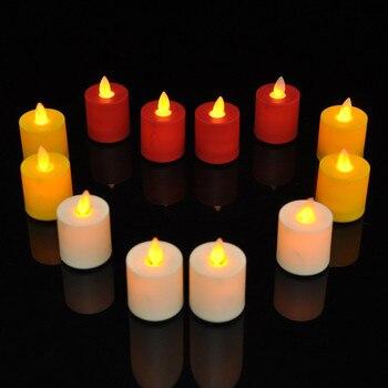 12 pcs Chá À Luz de Velas Sem Chama LEVOU Vela Bruxuleante Luz Festa de Natal Do Casamento Decoração de Casa Balançando Pavio da vela Elétrica