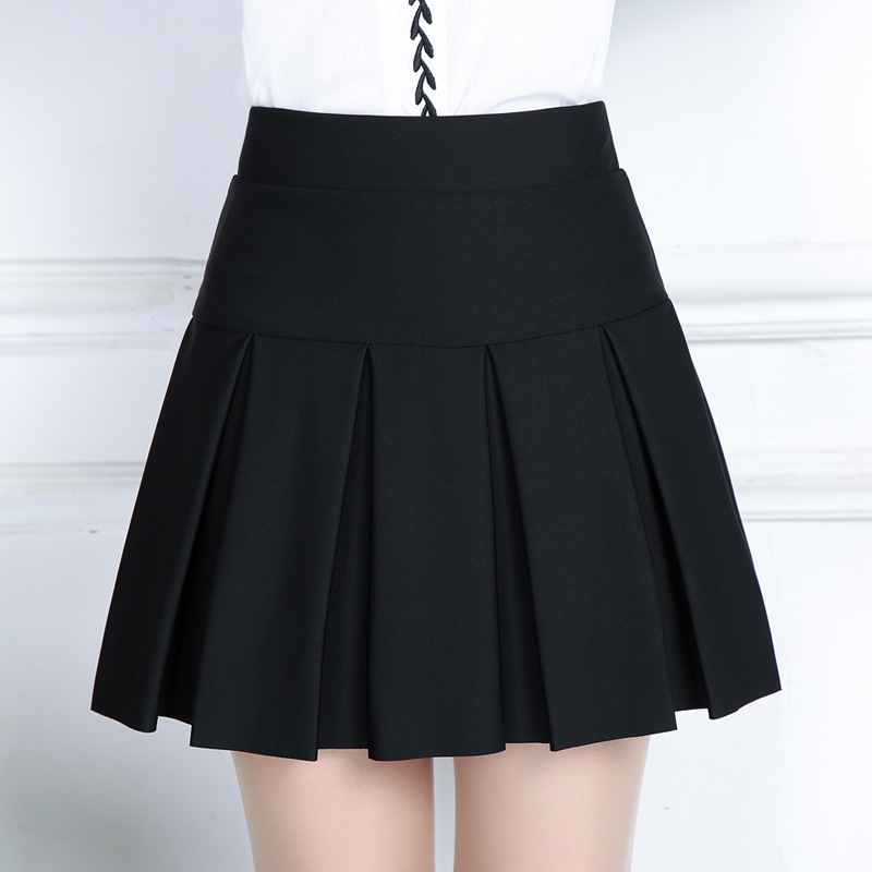 2018 Spring&autumn Women Pleated Skirt Korean Slim Sexy Office Solid Color Stretch High Waist A Line Skirt Plus Size Black Skirt