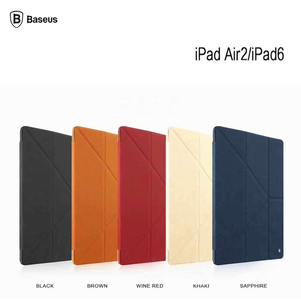 BASEUS Brand Multi-Function Standing Smart Cover For Apple iPad Air 2 6 9.7 Tablet Pu Leather Case With Auto Sleep/Wake Up
