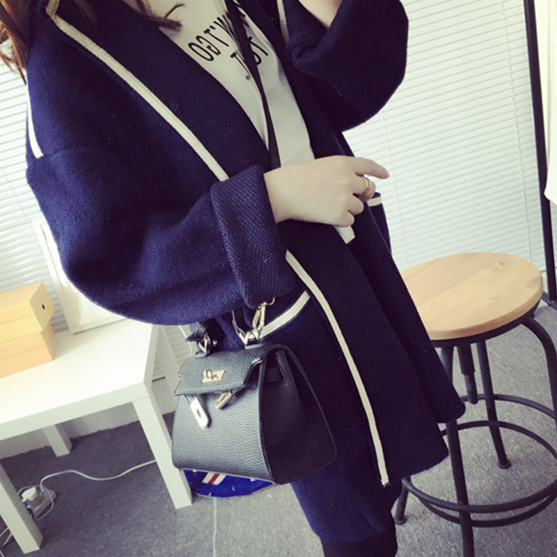 2018 Spring and Winter New Coat Thicken sweater cardigan Single breasted stripe Woman Pocket Long Knitting Womens