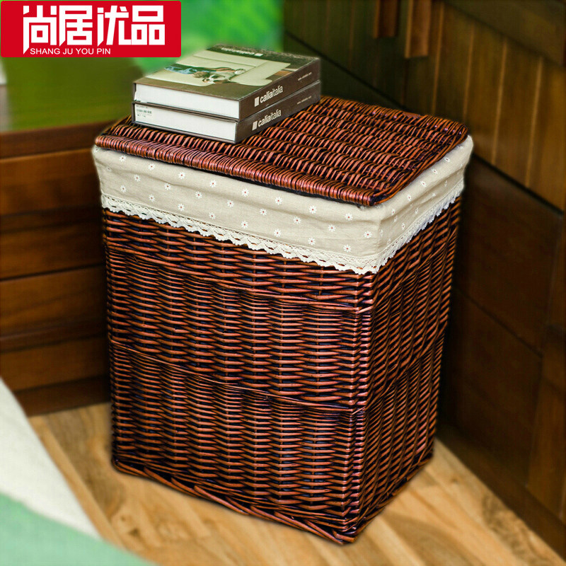 high quality handmade wicker storage basket clothes storage box with lid in storage baskets from. Black Bedroom Furniture Sets. Home Design Ideas