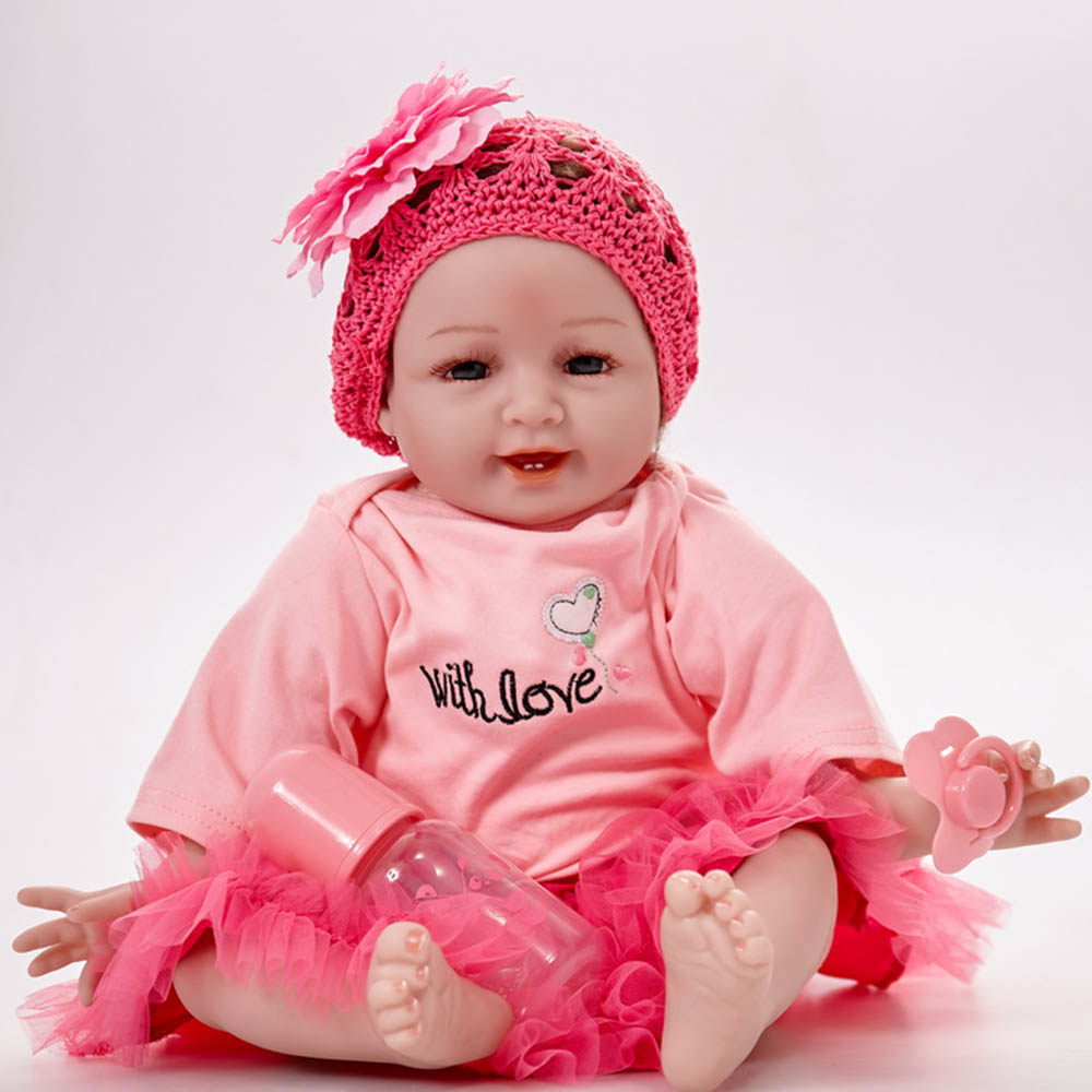 55cm Lovely Smiling Newborn Girl Doll Silicone Soft Realistic Reborn Baby Dolls with Cloth Body Toy for Children Birthday Gift