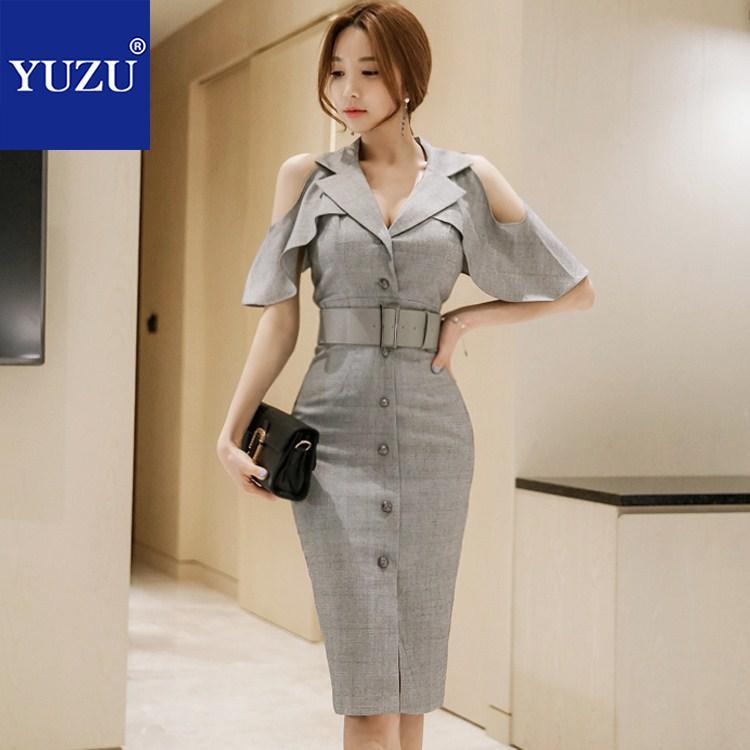 Irodai OL öltöny ruha Női nyári üzleti szürke egykaros - Női ruházat