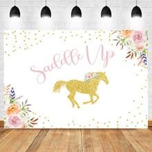 NeoBack Gold Unicorn Backdrop Saddle Up Flower Golden Dots Girl Baby Shower Photography Background Newborn Photo