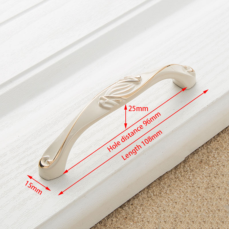 KAK цинк Aolly цвета слоновой кости ручки для шкафа кухонный шкаф дверные ручки для выдвижных ящиков Европейская мода оборудование для обработки мебели - Цвет: Handle-8809W-96