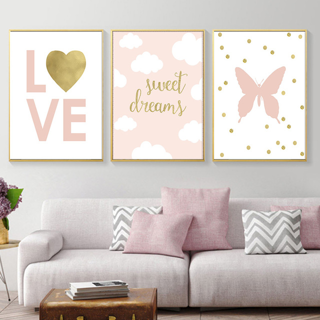 Nursery Art Canvas Painting Love Balloons Kids Baby Room Wall Decor Clouds Gold Sweet Dreams Print