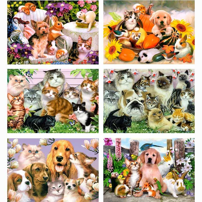 gyémántfestés keresztszemes állat sorozat kristály négyzet alakú gyémánt festés díszítő teljes gyémánt hímzés macska és kutya