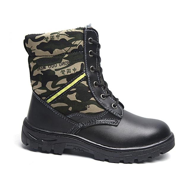 Werkschoenen Met Stalen Tip.Winter Veiligheidsschoenen Mannen Pu Leer Militaire Laarzen Mannen