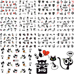 12 Design In 1 Set Cute Cartoon Cat Nail Sticker Water Transfer French Tips Manicure Pedicure DIY Watermark BEA493-504