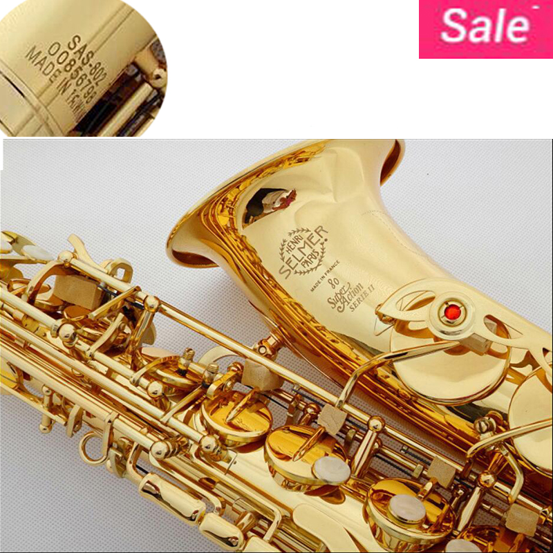DHL/Fedex Free Selmer 802 Gold Plated Alto Saxophone Brand France Henri sax E Flat musical instruments professional E flat sax selmer of france b flat tenor sax instruments shipping professional performance suitable for beginners