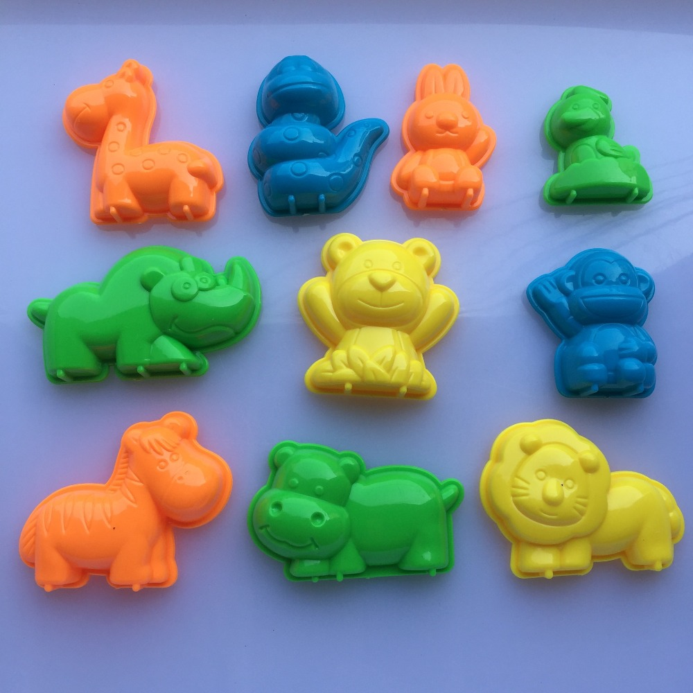 10 PCS Set Animals Sand Clay Tool Beach Toys Novelty Pyramid Mold Building Model For Kids Child Baby Out Fun Toys on Holiday