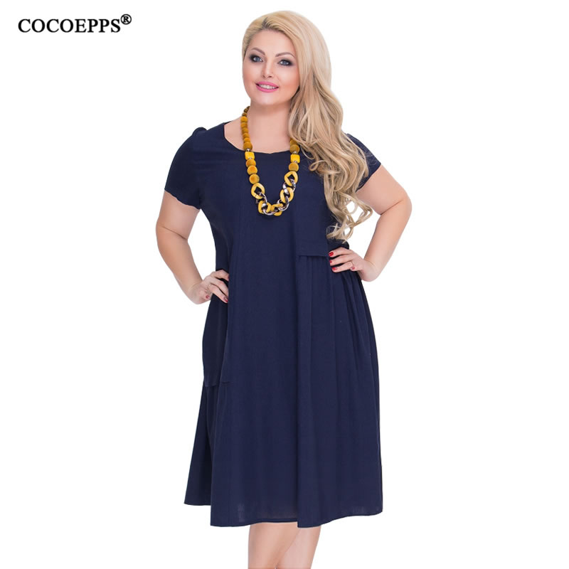 COCOEPPS Loose Casual Women Dresses Big Size New Arrival 2018 Office Dress Plus Size Summer Dress Large Sizes 6XL Blue Vestidos