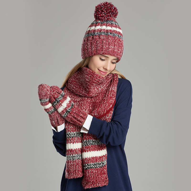 Women Knitted Hat Scarf Glove Sets Fashion Casual Elegant Winter Hats Scarves Gloves Three-Piece Set Free Shipping 1801