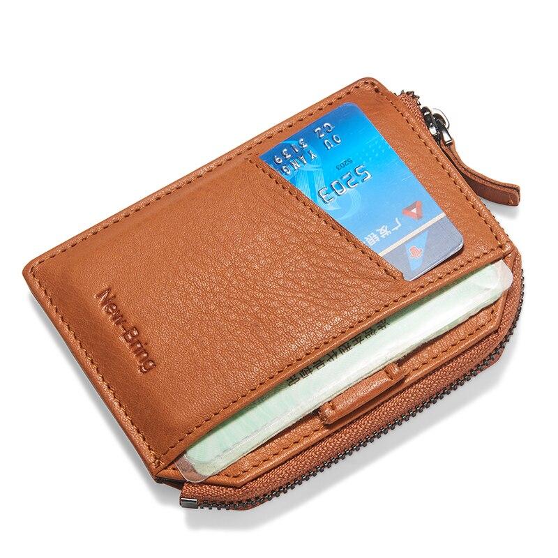 NewBring 2019 Leather Zipper Wallet Male Minimalism Money Purse Slim Card Holder Short Male Clutch Men's Wallets Coin Purse