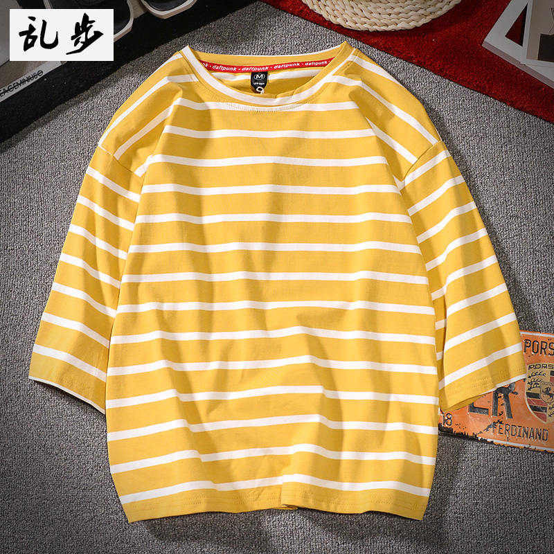 Spring Summer Men Fashion Brand Korea Style Ulzzang Chic Striped Sea Soul Three Quarter Sleeve T-shirt Male Casual Loose Tshirts 3