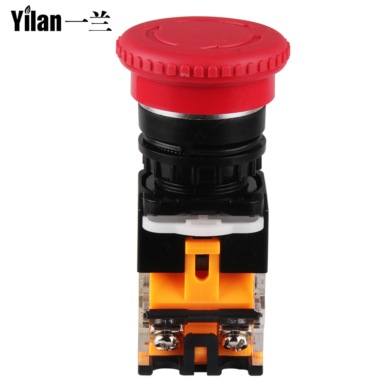 Emergency Power Push Button Switch LA38-11ZS Mushroom Head Emergency Stop Button Switch Self-Locking 22MM tn2ss rotary button switch gear selection type 2 22mm with self locking