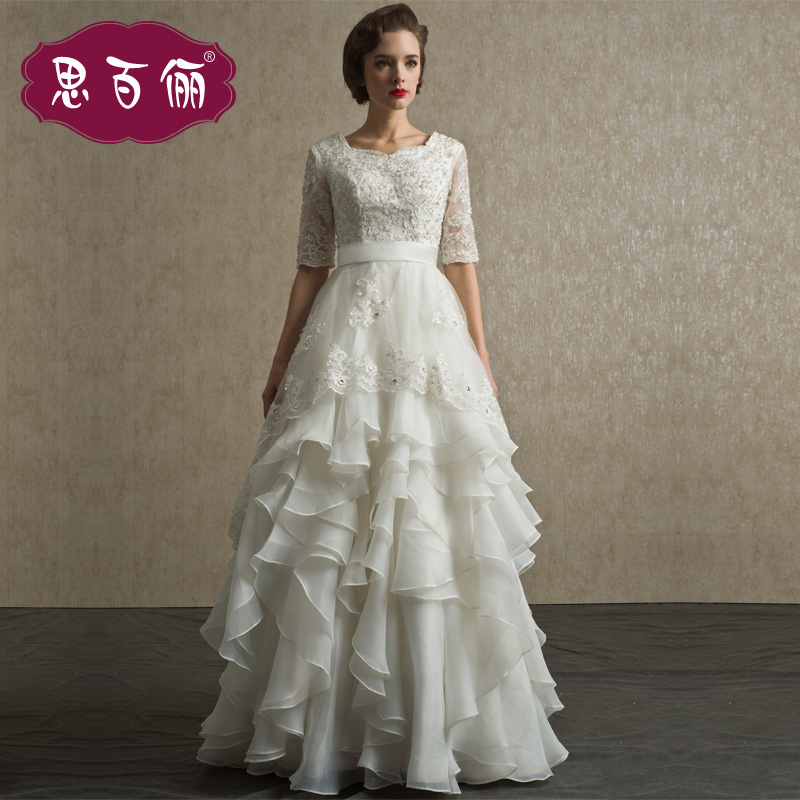 free shipping new arrival cream white color several sizes fashion elegant vintage organza half sleeve puff