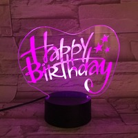 Newest happy Birthday 3D led USB night Light Energy saving table Lamp for girl friend birthday gift