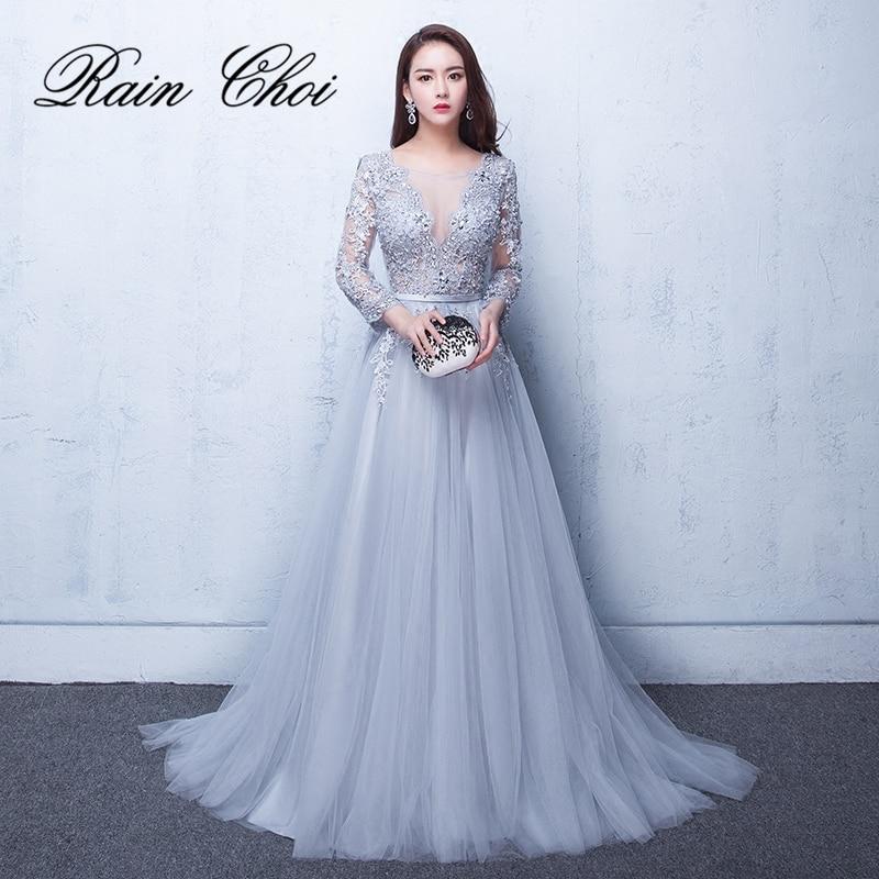 2018 Evening Dresses 3 4 Sleeves Appliques Silver Formal Gown Long Evening Party Dress Vestido De
