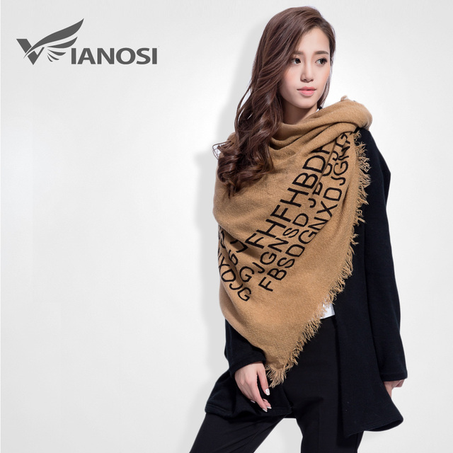 [VIANOSI] Fashion Letter Women Letter Thicken Winter Scarf Female Brand Soft Warm Foulard Shawl VS050