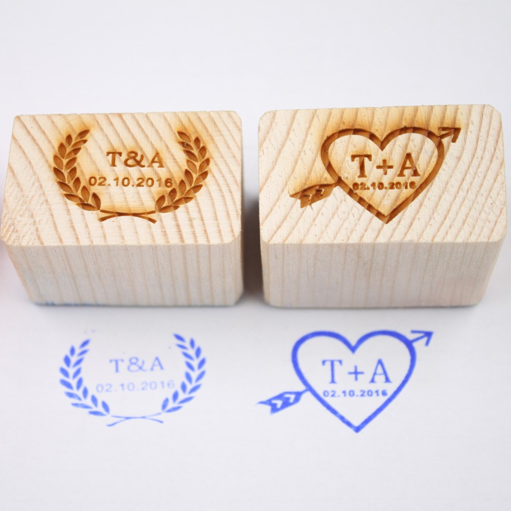Wedding Gifts Personalized Wood Stamp with Your Initials&Date ...