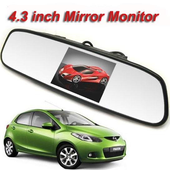 Accfly 4.3 palcový TFT lcd Barevný zpětný zrcadlový monitor pro kameru se zadním výhledem do auta s 2 kanálovým vstupem