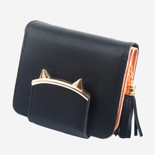 hot deal buy tcgad valink 2018 designer women wallet tassel cat solid color coin purse wallet purses card holders handbag carteira feminina