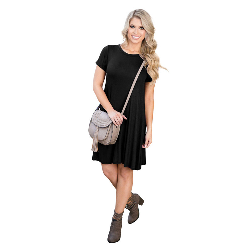 snowshine YLI Women Loose Casual O-neck Short Sleeves Ruffles Mini Dress free shipping