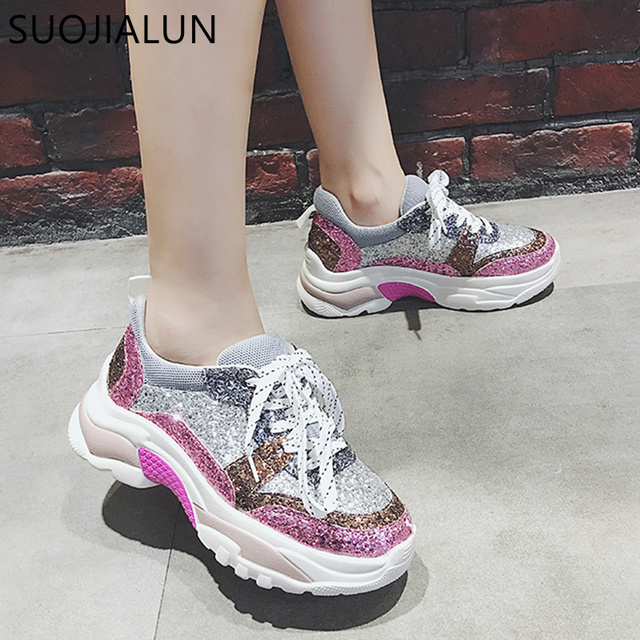 SUOJIALUN Women Casual Flat Platform Sneakers Shoes Fashion Brand Winter Female  Breathable Creepers Lace Up Round 15121bd19e4a