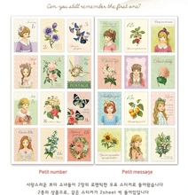12Pcs/Pack DIY Vintage Paper Stickers Alice Cute Little Lovely Girls Petit Postage Stamp Sticker For Diary Scrapbooking H0127