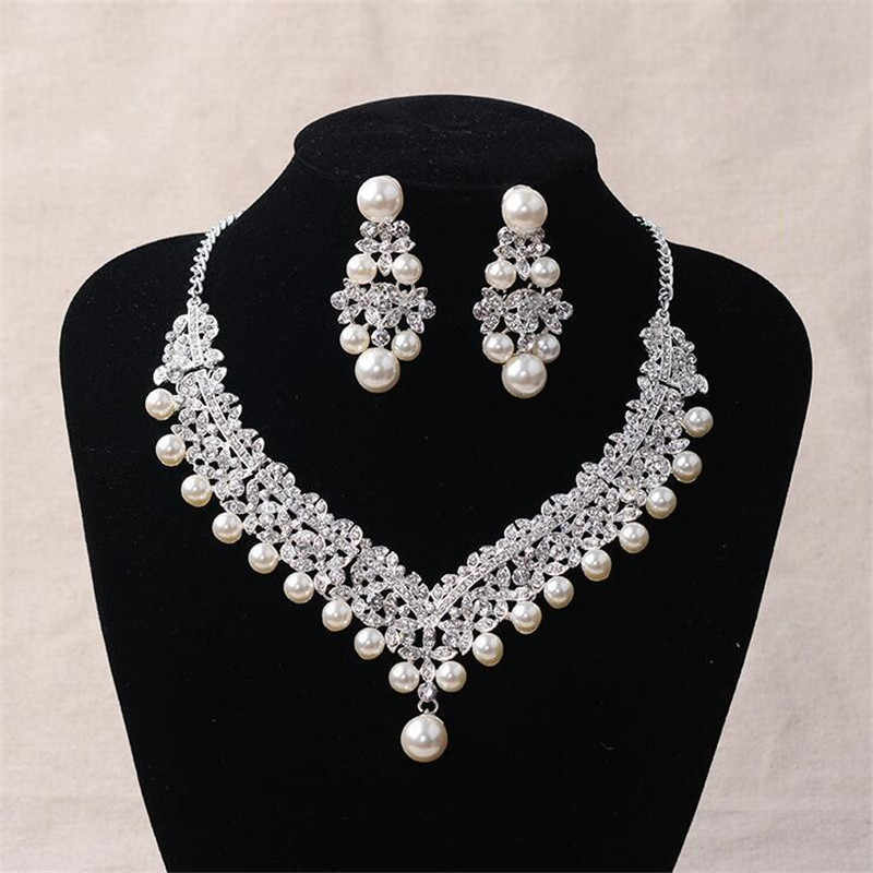 Fashion Pearl Wedding Bridal Jewelry Sets For Bride Women Pageant Prom Bijoux Necklace Earring Wedding Jewelry Accessories