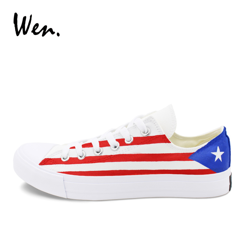 Wen Summer Low Top Canvas Shoes Design Puerto Rico Flag Hand Painted Shoes Sneakers Men Women Plimsolls Gym Trainers Zapatos men women converse puerto rico flag hand painted artwork high top canvas shoes unique sneakers