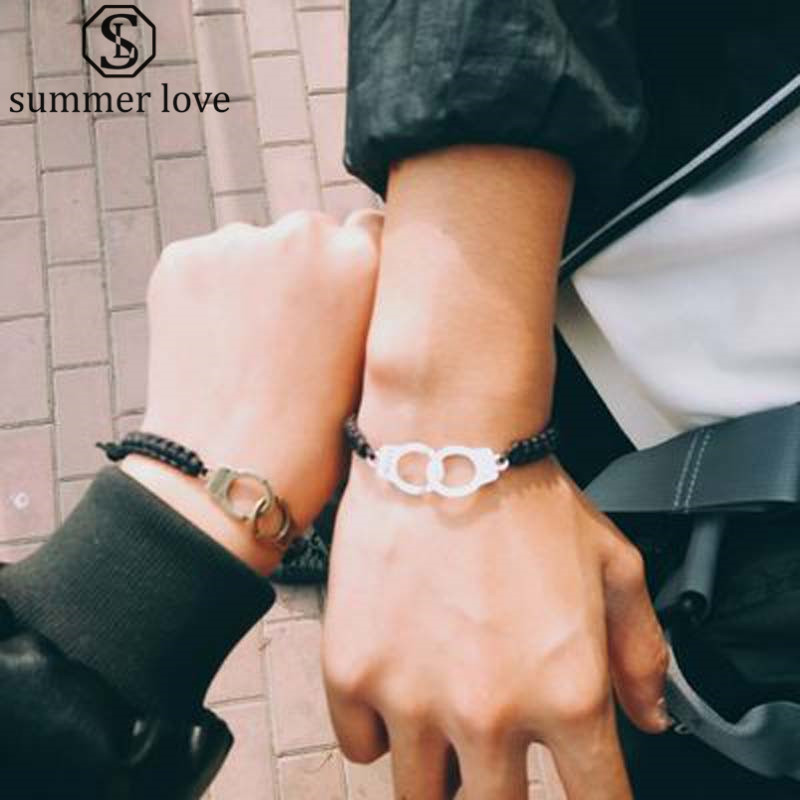 4169a4c1779 Special Lettering FREEDOM Woman Handcuffs Bracelet Handmade Black Braided  Bracelet Couple Lover Valentine's Day Gift Jewelry