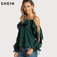 SHEIN Lace Up Silk Blouse Sleeve Flounce Top Woman Blouses 2017 Autumn Green Spaghetti Strap Ruffle