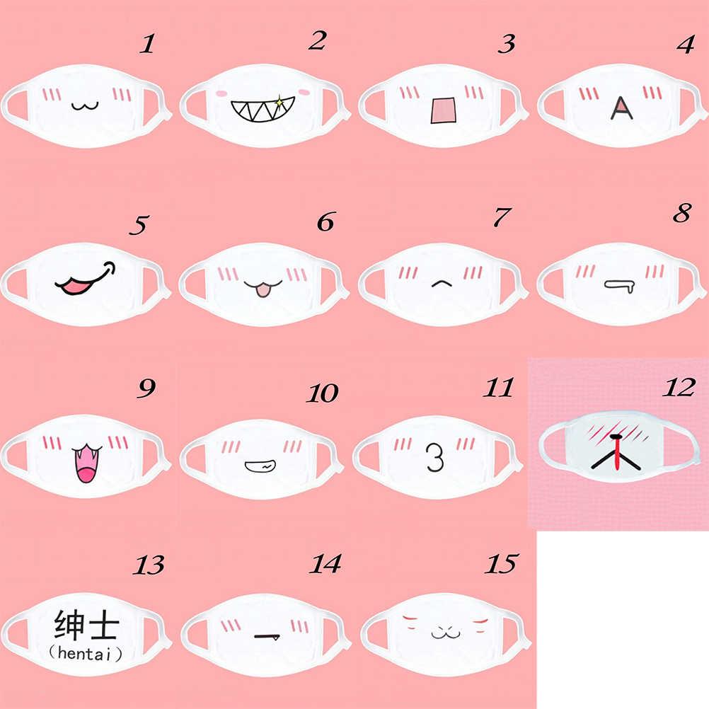 1 pçs kawaii bonito unisex feminino anime emotição boca-muffle kaomoji anti-poeira máscara facial máscara de segurança boca