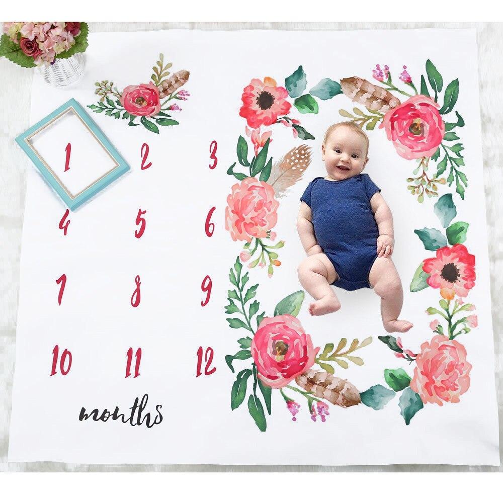 Couverture pour photographie et photographie | Livraison directe de nouveau-né, croissance mensuelle du bébé, jalon, couverture fleur toile de fond, prise de vue, literie, accessoires de photographie