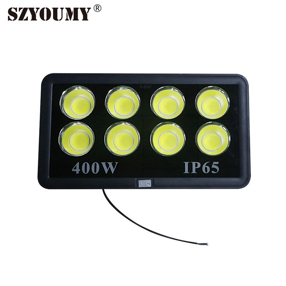 SZYOUMY LED Flood Light 400W LED Outdoor Lighting AC85-265V IP65 Waterproof LED Spotlight Reflector LED COB Chip White RGB color