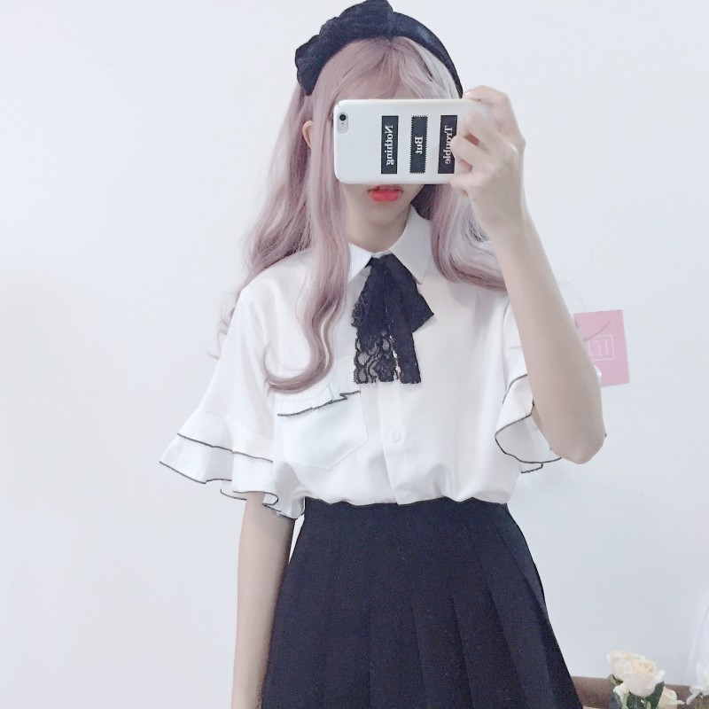 Korean sweet women's ruffle flare sleeve   blouse     shirt   2019 new turn down collar lace bow lolita   blouses   preppy style blusas tops