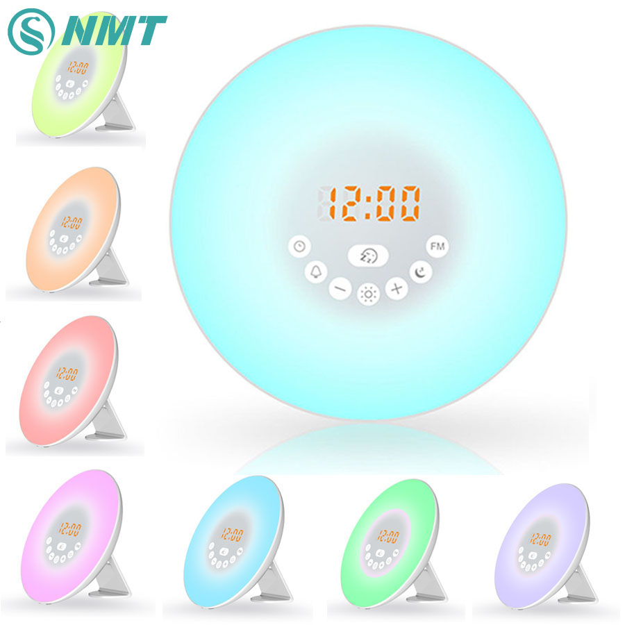 USB Led Wake Up Light Digital Alarm Clock Nature Sound Night Light RGB White FM Radio Touch Modern Table Lamp Lighting for Kids