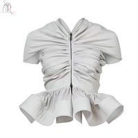 Women Ruched Cape Sleeve Ruffle Hem Vintage Blouse Zipper Front Novelty New Design 2 Colors Autumn