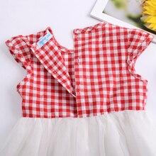 Baby Girl Dress Plaid Bow Short Sleeved