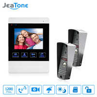 JeaTone 1200TVL Wired Door Bell 1200TVL Front Door Camera Video Monitoring Unlocking Talking Intercom System Doorphone